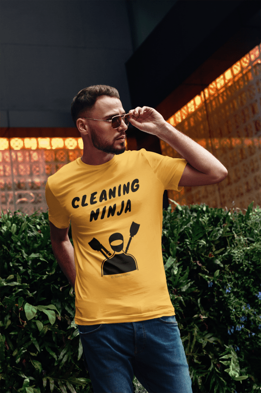 Cleaning Ninja, Savvy Cleaner Funny Cleaning T-Shirt in Gold