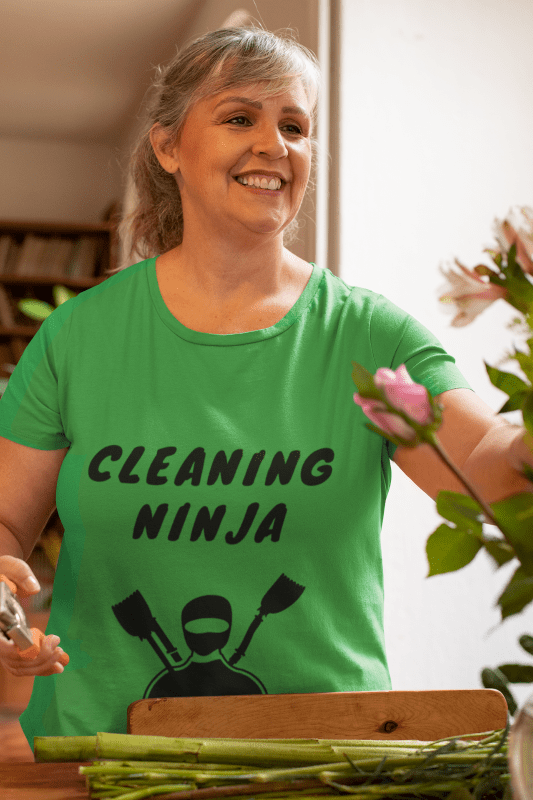 Cleaning Ninja, Savvy Cleaner Funny Cleaning T-Shirt in Green