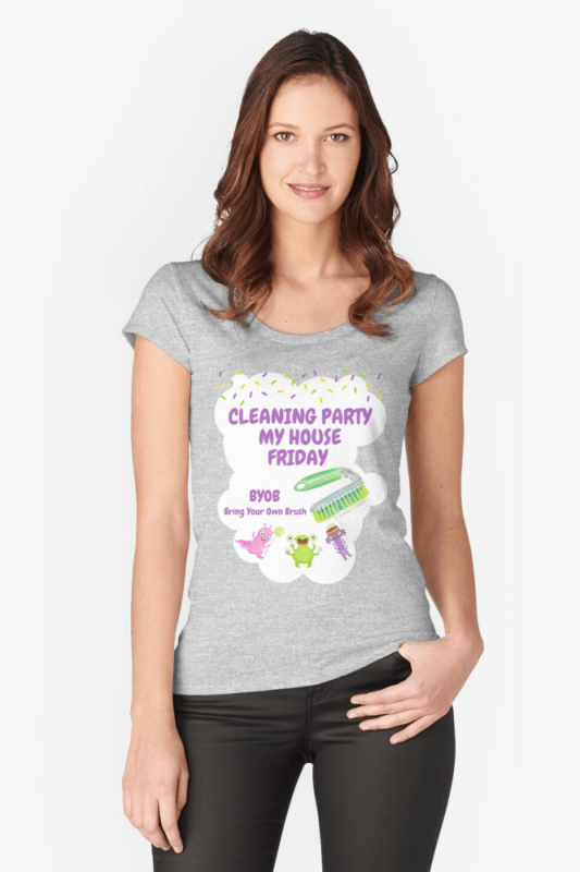 Cleaning Party, Savvy Cleaner Funny Cleaning Shirts, Fitted Scoop Shirt