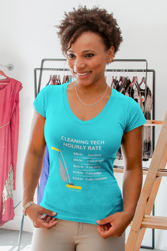 Cleaning Tech, Savvy Cleaner Funny Cleaning Shirts V-Neck