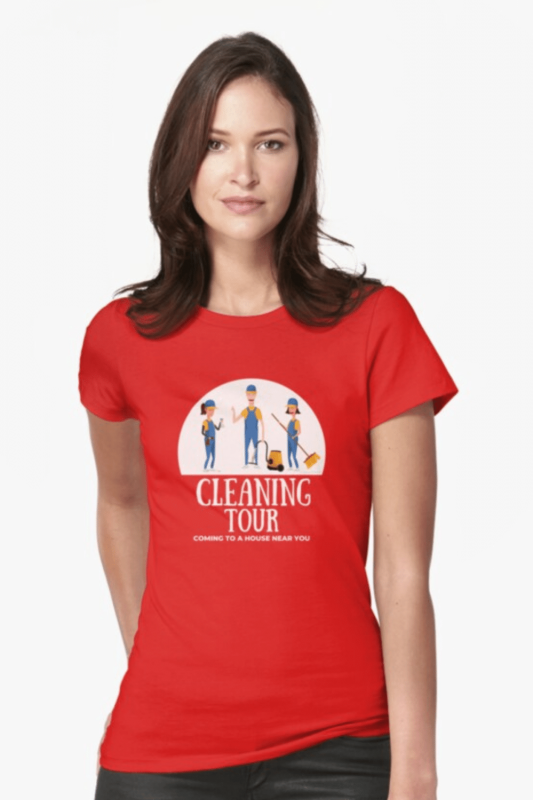 Cleaning Tour Savvy Cleaner Funny Cleaning Shirts Fitted T-Shirt