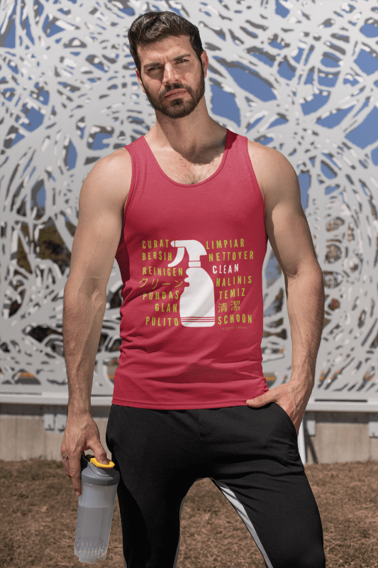 Cleaning in Every Language, Savvy Cleaner T-Shirt, Man in tanktop