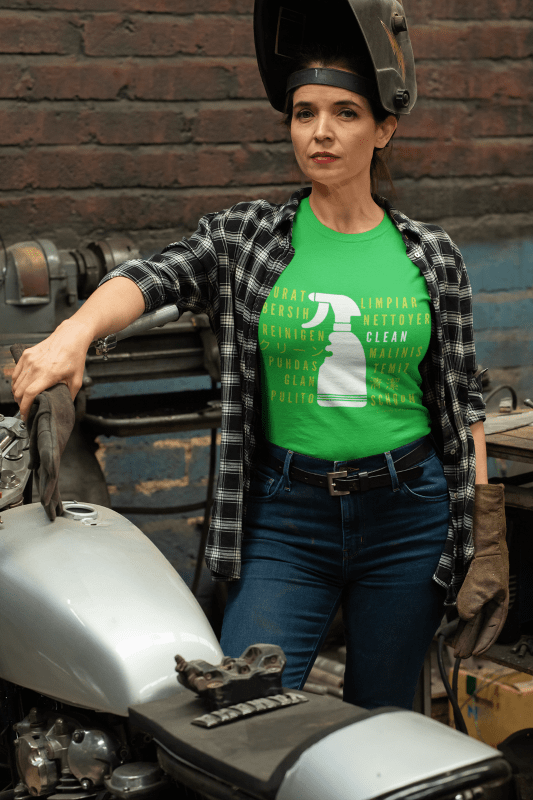 Cleaning in Every Language, Savvy Cleaner T-Shirt, Woman in Green T-Shirt
