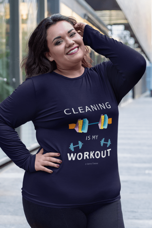 Cleaning is My Workout, Savvy Cleaner Funny Cleaning Shirts, Women's Flowy Long Sleeve T-Shirt