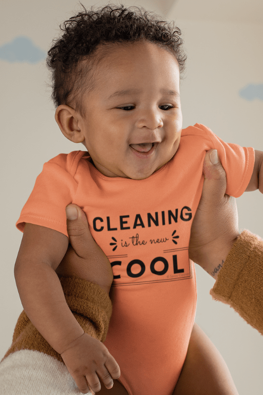 Cleaning is the New Cool, Savvy Cleaner Funny Cleaning Shirts, Baby Premium Onesie