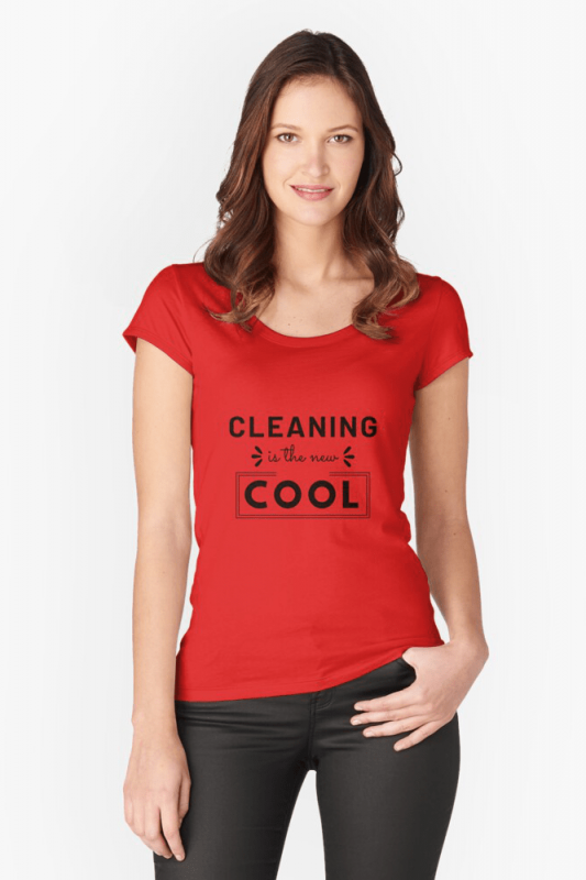 Cleaning is the New Cool, Savvy Cleaner Funny Cleaning Shirts, Scooped Neck Shirt