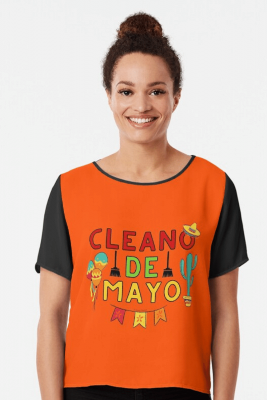 Cleano De Mayo Savvy Cleaner Funny Cleaning Shirts Chiffon Top