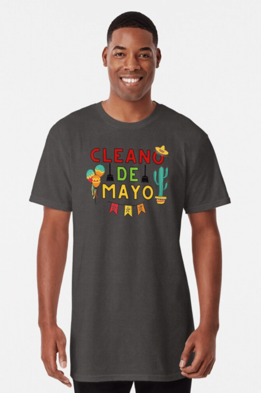 Cleano De Mayo Savvy Cleaner Funny Cleaning Shirts Long T-Shirt