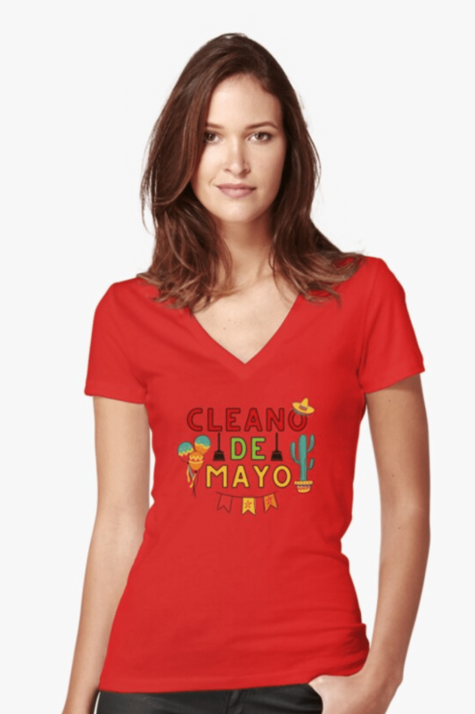 Cleano De Mayo Savvy Cleaner Funny Cleaning Shirts V-Neck T-Shirt