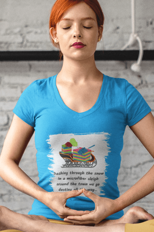 Dusting All The Way Savvy Cleaner Funny Cleaning Shirts Women's Classic V-Neck T-Shirt