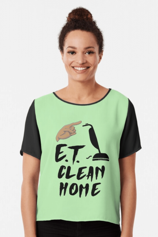 ET Clean Home Savvy Cleaner Funny Cleaning Shirts Chiffon Top