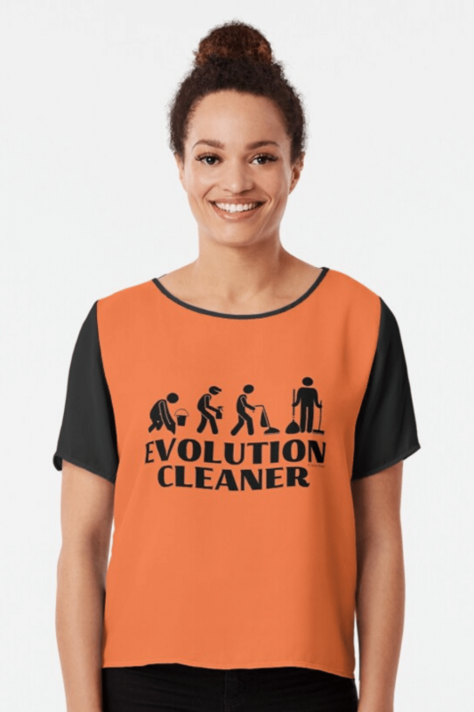 Evolution Cleaner Savvy Cleaner Funny Cleaning Shirts Chiffon Top