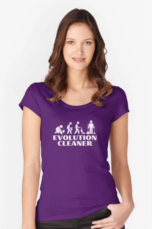Evolution Cleaner Savvy Cleaner Funny Cleaning Shirts Fitted Scoop Tee