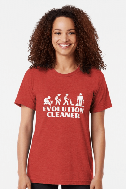 Evolution Cleaner Savvy Cleaner Funny Cleaning Shirts Triblend Tee