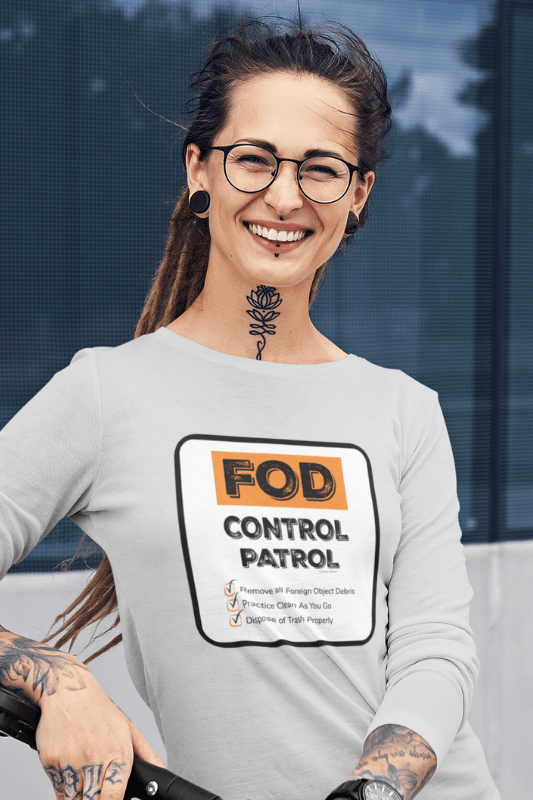 FOD Control Patrol, Savvy Cleaner Funny Cleaning Shirts, Women's Flowy Long Sleeve T-Shirt