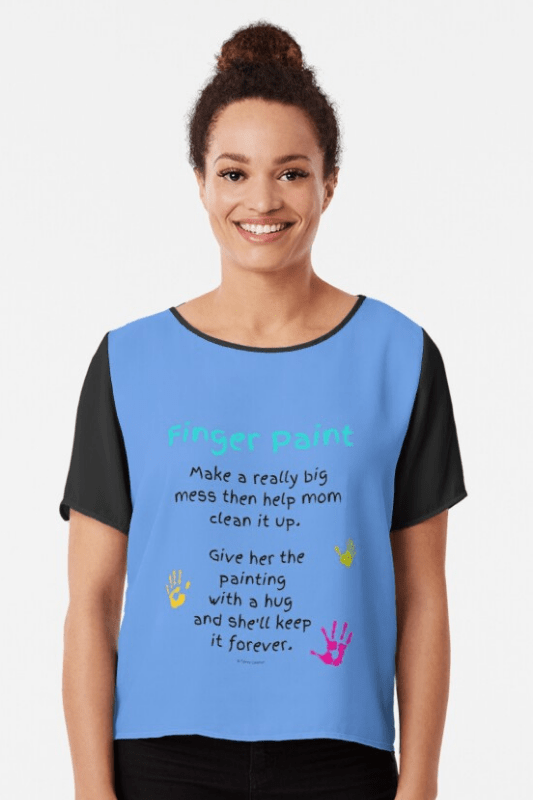 Finger Paint Savvy Cleaner Funny Cleaning Shirts Chiffon Top