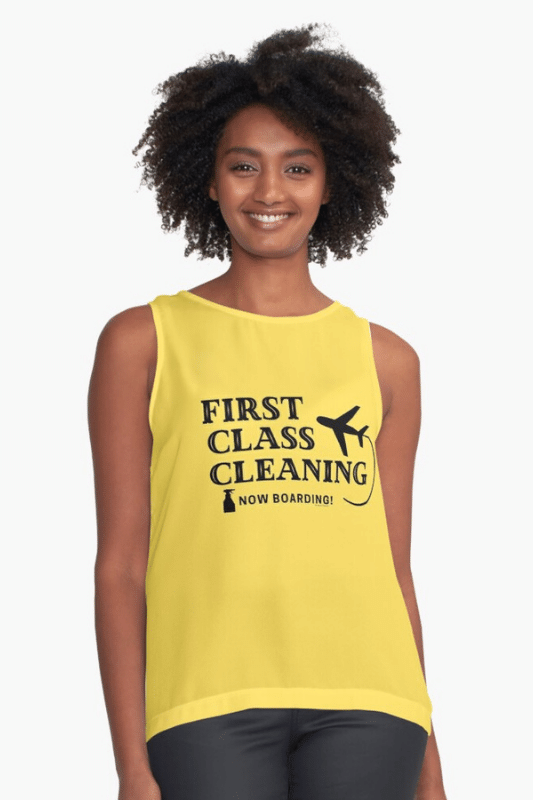 First Class Cleaning Savvy Cleaner Funny Cleaning Shirts Sleeveless Top
