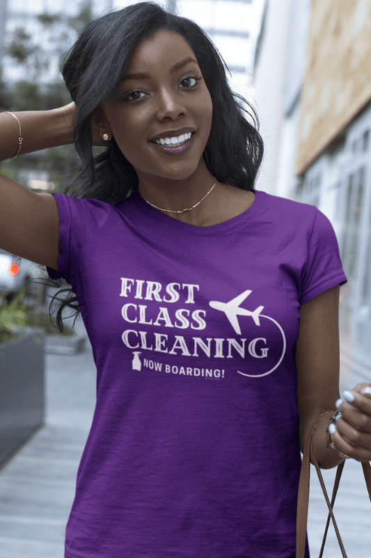 First Class Cleaning Savvy Cleaner Funny Cleaning Shirts Women's Classic Tee