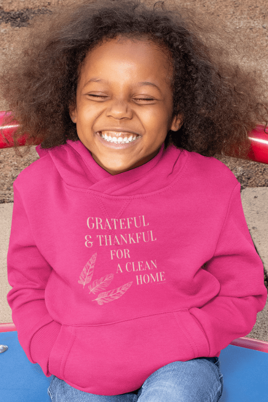 Grateful for a Clean Home, Savvy Cleaner, Funny Cleaning Shirts, Kids Classic Pullover Hoodie