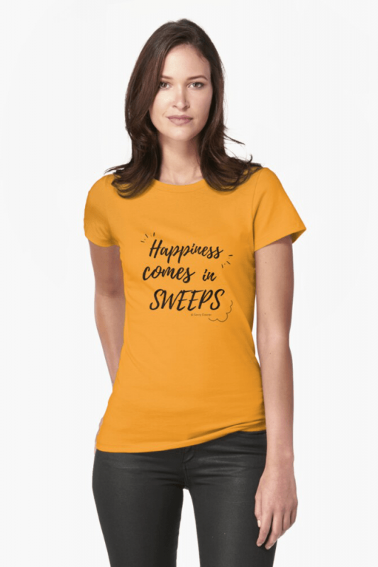 Happiness Comes in Sweeps, Savvy Cleaner Funny Cleaning shirts, Fitted Shirt
