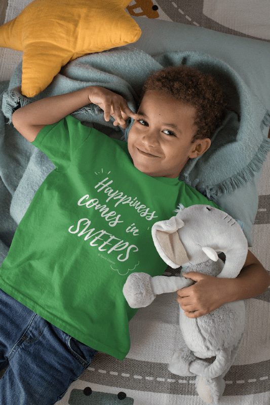 Happiness Comes in Sweeps, Savvy Cleaner T-Shirt, Boy in Green