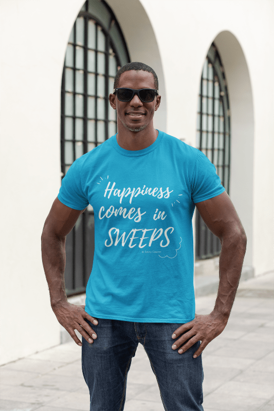 Happiness Comes in Sweeps, Savvy Cleaner T-Shirt, Man in Blue