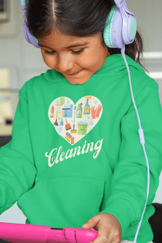 Heart Cleaning, Savvy Cleaner Funny Cleaning Shirts, Kids Classic Pullover Hoodie