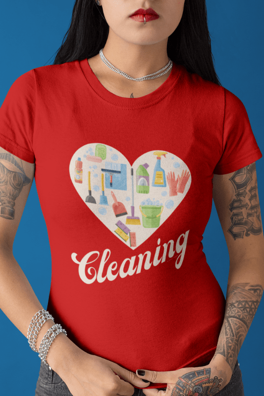 Heart Cleaning, Savvy Cleaner Funny Cleaning Shirts, Women's Boyfriend T-Shirt
