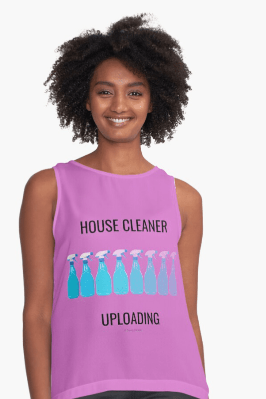 House Cleaner Uploading, Savvy Cleaner Funny Cleaning Shirts, sleeveless top