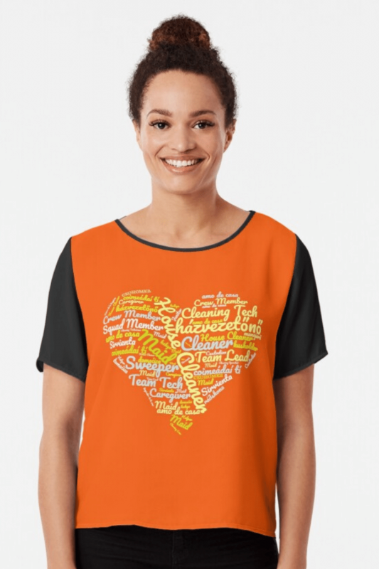 House Cleaner Wordcloud Savvy Cleaner Funny Cleaning Shirts Chiffon Top