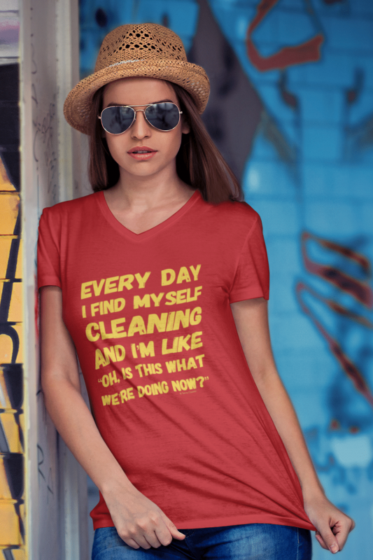 I Find Myself Cleaning Savvy Cleaner Funny Cleaning Shirts Women's Premium V-Neck Tee