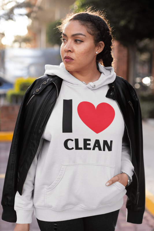 I Love Clean Savvy Cleaner Funny Cleaning Shirts Premium Pullover Hoodie