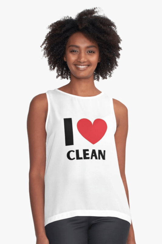 I Love Clean Savvy Cleaner Funny Cleaning Shirts Sleeveless Top