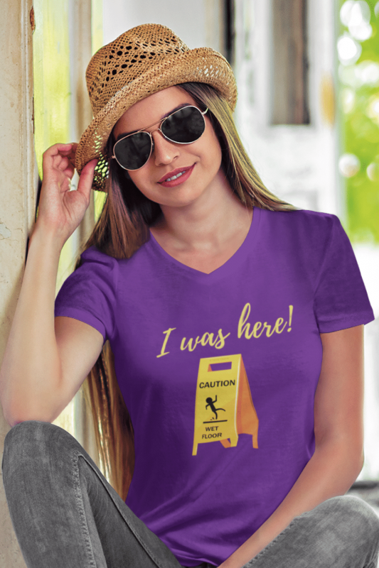 I Was Here Savvy Cleaner Funny Cleaning Shirts Women's Premium V-Neck Tee