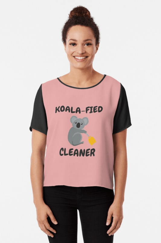 Koalafied Cleaner Savvy Cleaner Funny Cleaning Shirts Chiffon Top
