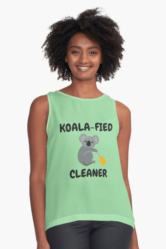 Koalafied Cleaner Savvy Cleaner Funny Cleaning Shirts Sleeveless Top