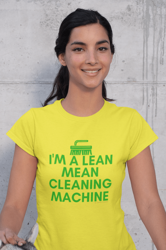 Lean, Mean Cleaning Machine, Savvy Cleaner Funny Cleaning Shirts, Women's Boyfriend T-Shirt