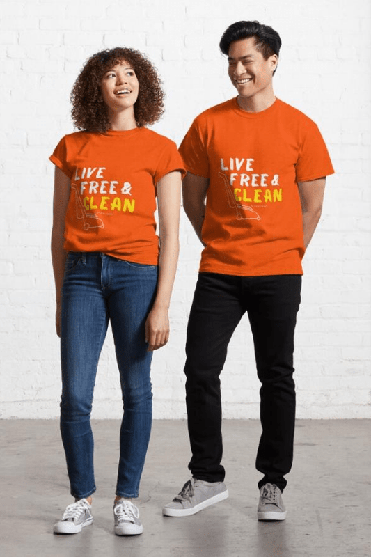 Live Free and Clean, Savvy Cleaner Funny Cleaning Shirts Classic T-shirt