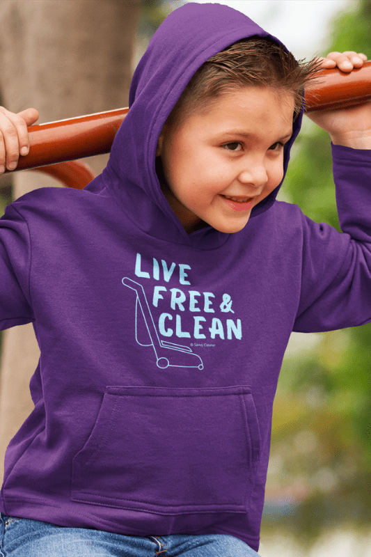 Live Free and Clean, Savvy Cleaner Funny Cleaning Shirts, Kids Premium Hoodie