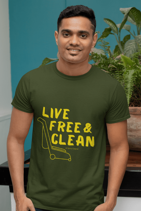 Live Free and Clean, Savvy Cleaner Funny Cleaning Shirts, Premium T-Shirt