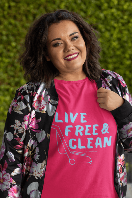Live Free and Clean, Savvy Cleaner Funny Cleaning Shirts, Women's Classic T-Shirt