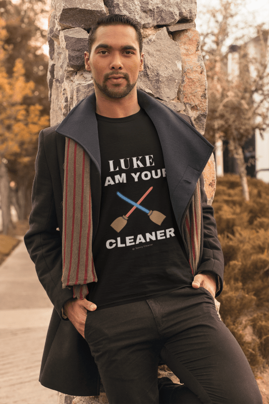Luke I Am Your Cleaner, Savvy Cleaner T-Shirt, Indian Man in Black
