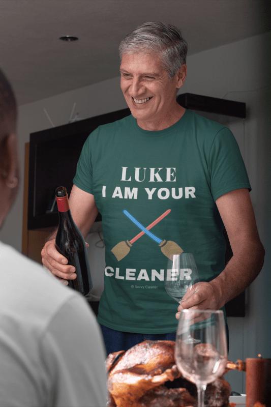 Luke I Am Your Cleaner, Savvy Cleaner T-Shirt, Senior Man in Emerald