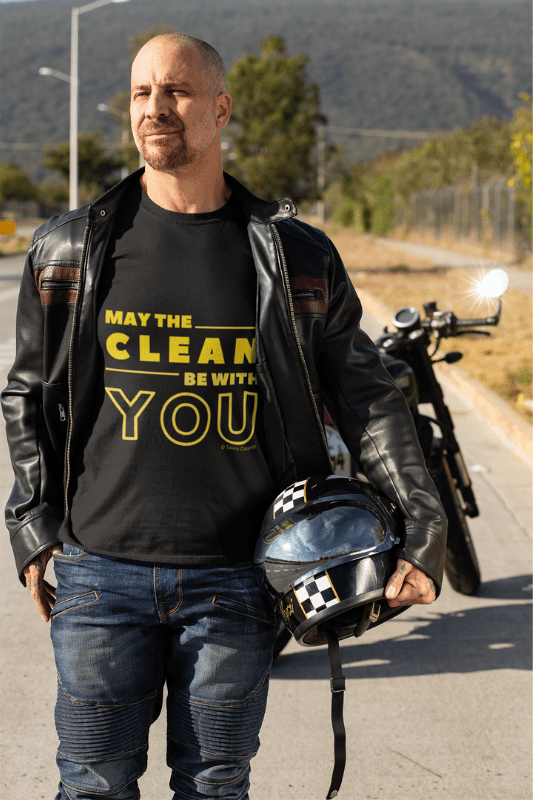 May the Clean Be With You, Savvy Cleaner Funny Cleaning Shirts, WWIB_1