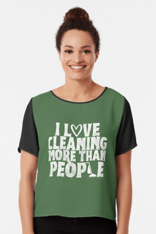 More Than People Savvy Cleaner Funny Cleaning Shirts Chiffon Top