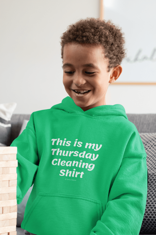 My Thursday Cleaning Shirt, Savvy Cleaner Funny Cleaning Shirts, Kids Classic Pullover Hoodie