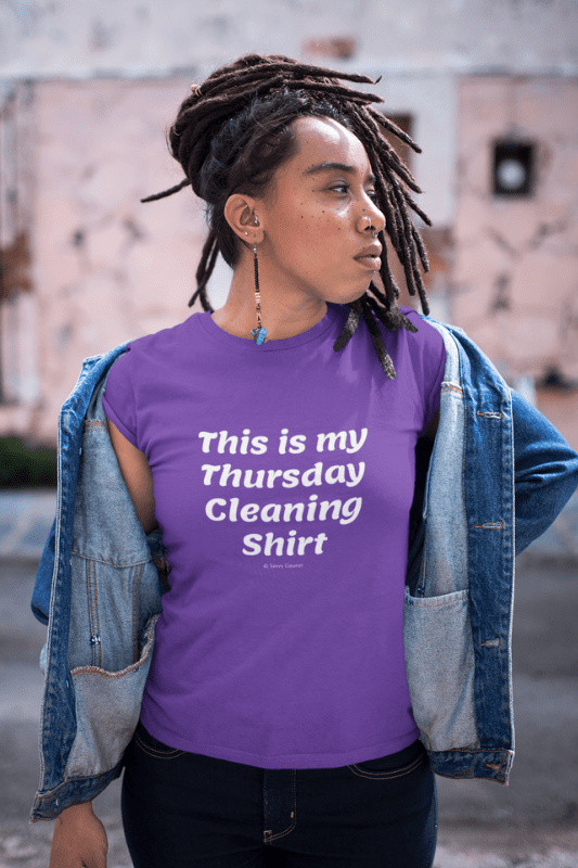 My Thursday Cleaning Shirt, Savvy Cleaner Funny Cleaning Shirts, Women's Boyfriend T-Shirt