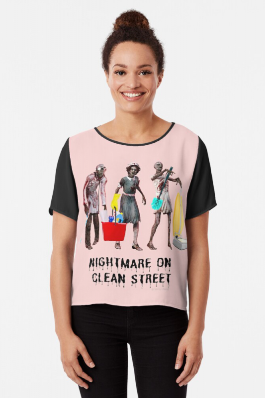 Nightmare on Clean Street, Savvy Cleaner Funny Cleaning Shirts, Chiffon Shirt