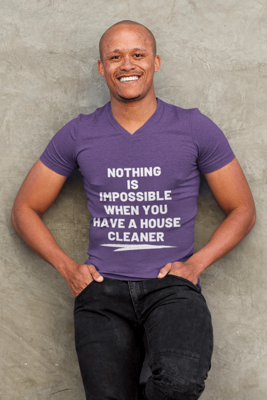 Nothing is Impossible, Savvy Cleaner Funny Cleaning Shirts, V-Neck WWIB_3