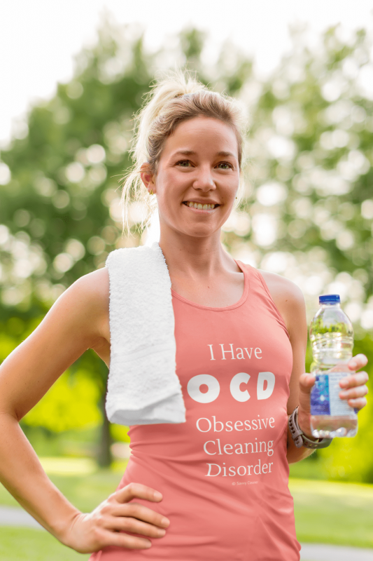 OCD, Savvy Cleaner Funnny Cleaning Shirts, Womans Flowy Tank Top